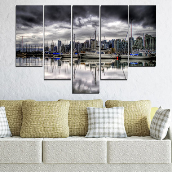 Canvas prints & wall decorative panels - 5 pieces №0298 » Black, Gray, White, Dark grey » Water, City, Reflection, Boat Form #6