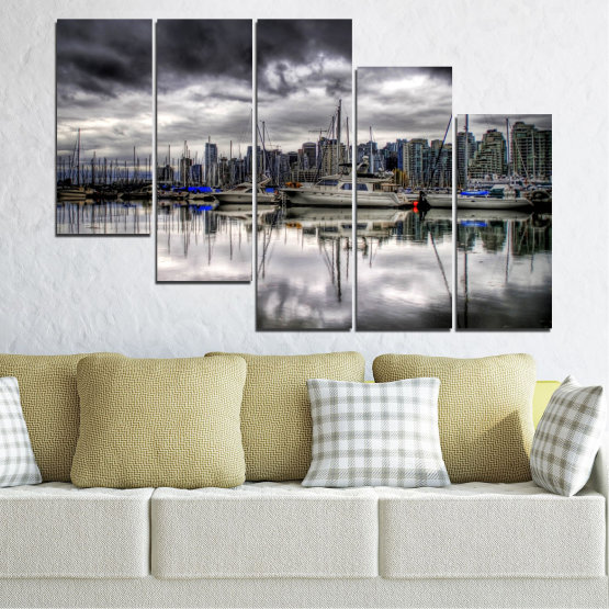 Canvas prints & wall decorative panels - 5 pieces №0298 » Black, Gray, White, Dark grey » Water, City, Reflection, Boat Form #7