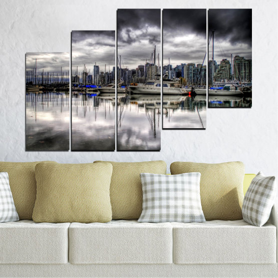 Canvas prints & wall decorative panels - 5 pieces №0298 » Black, Gray, White, Dark grey » Water, City, Reflection, Boat Form #8