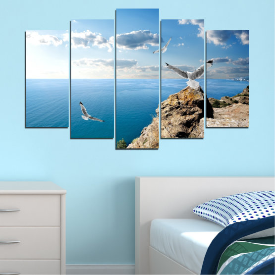 Canvas prints & wall decorative panels - 5 pieces №0299 » Blue, Turquoise, Gray, White » Sea, Rocks, Cloud, Seagull Form #1