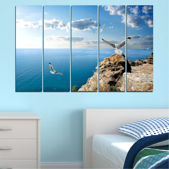 Canvas prints & wall decorative panels - 5 pieces №0299 » Blue, Turquoise, Gray, White » Sea, Rocks, Cloud, Seagull Form #2