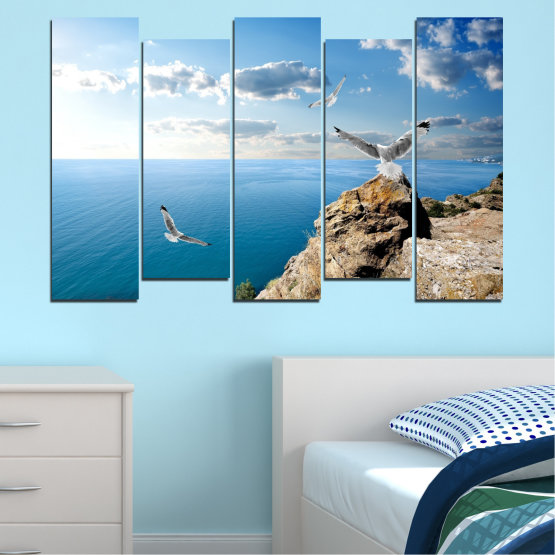 Canvas prints & wall decorative panels - 5 pieces №0299 » Blue, Turquoise, Gray, White » Sea, Rocks, Cloud, Seagull Form #3