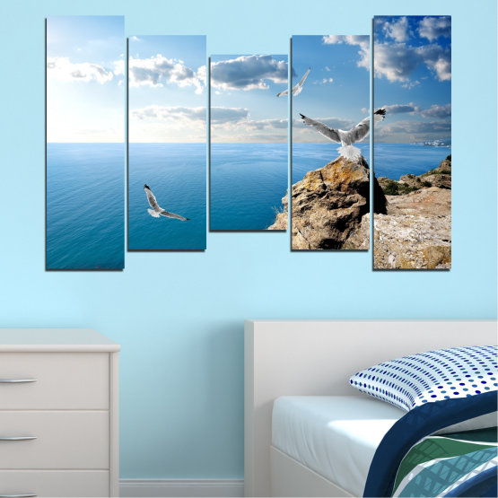 Canvas prints & wall decorative panels - 5 pieces №0299 » Blue, Turquoise, Gray, White » Sea, Rocks, Cloud, Seagull Form #4