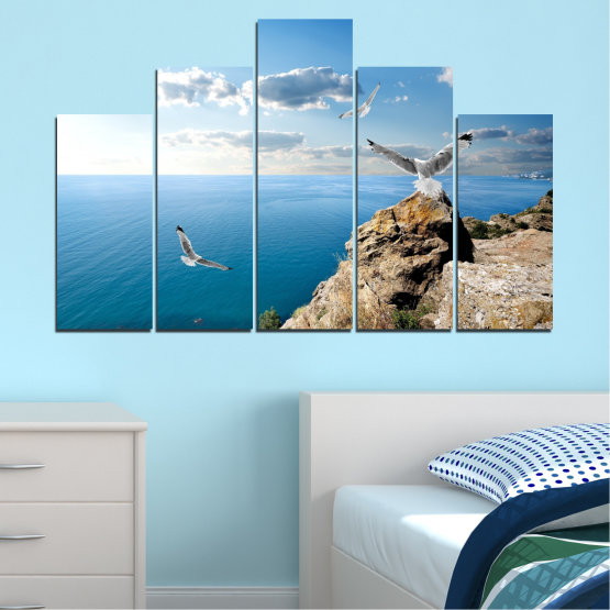 Canvas prints & wall decorative panels - 5 pieces №0299 » Blue, Turquoise, Gray, White » Sea, Rocks, Cloud, Seagull Form #5