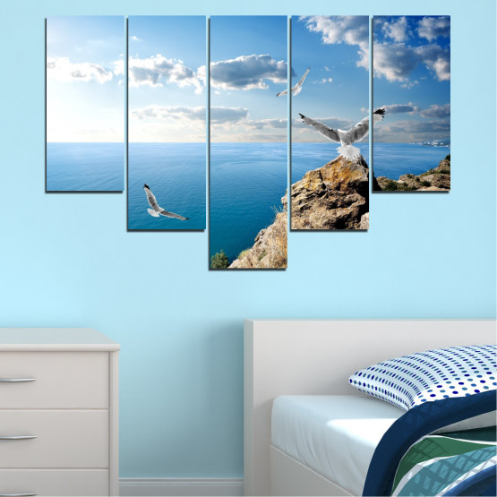 Canvas prints & wall decorative panels - 5 pieces №0299 » Blue, Turquoise, Gray, White » Sea, Rocks, Cloud, Seagull Form #6