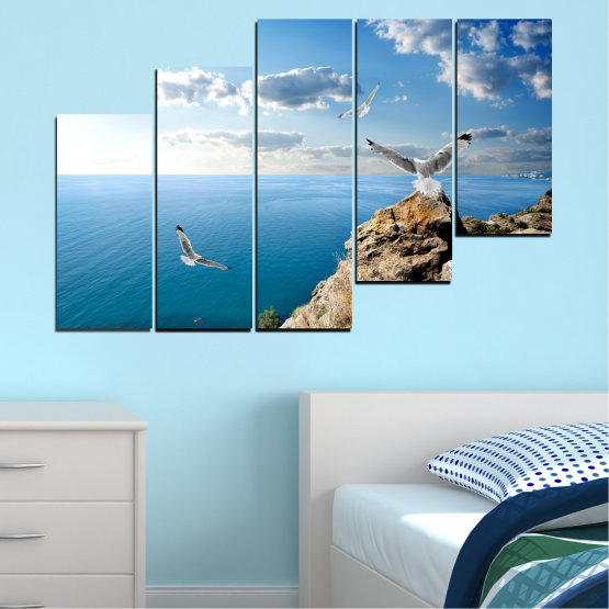Canvas prints & wall decorative panels - 5 pieces №0299 » Blue, Turquoise, Gray, White » Sea, Rocks, Cloud, Seagull Form #8