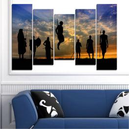 Декоративни панели и картини от канава - от 5 части №0003 Залез 4-та Форма