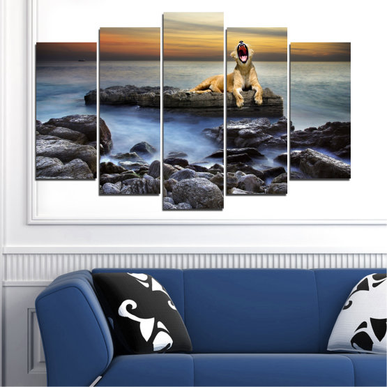 Canvas prints & wall decorative panels - 5 pieces №0030 » Brown, Black, Gray, Beige, Dark grey » Sea, Animal, Water, Sunset, Rocks, Tiger Form #1