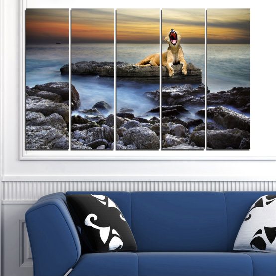 Canvas prints & wall decorative panels - 5 pieces №0030 » Brown, Black, Gray, Beige, Dark grey » Sea, Animal, Water, Sunset, Rocks, Tiger Form #2