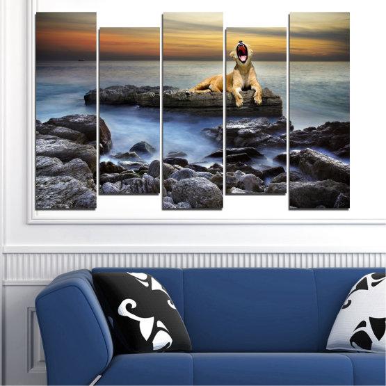 Canvas prints & wall decorative panels - 5 pieces №0030 » Brown, Black, Gray, Beige, Dark grey » Sea, Animal, Water, Sunset, Rocks, Tiger Form #3