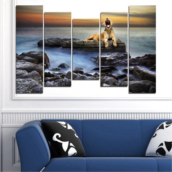 Canvas prints & wall decorative panels - 5 pieces №0030 » Brown, Black, Gray, Beige, Dark grey » Sea, Animal, Water, Sunset, Rocks, Tiger Form #4