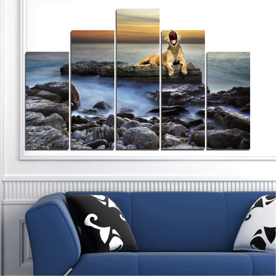 Canvas prints & wall decorative panels - 5 pieces №0030 » Brown, Black, Gray, Beige, Dark grey » Sea, Animal, Water, Sunset, Rocks, Tiger Form #5