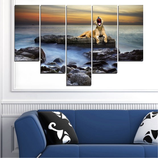 Canvas prints & wall decorative panels - 5 pieces №0030 » Brown, Black, Gray, Beige, Dark grey » Sea, Animal, Water, Sunset, Rocks, Tiger Form #6