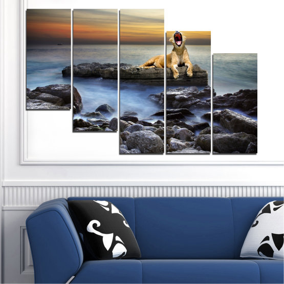 Canvas prints & wall decorative panels - 5 pieces №0030 » Brown, Black, Gray, Beige, Dark grey » Sea, Animal, Water, Sunset, Rocks, Tiger Form #7