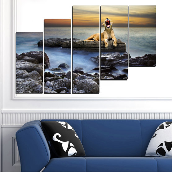 Canvas prints & wall decorative panels - 5 pieces №0030 » Brown, Black, Gray, Beige, Dark grey » Sea, Animal, Water, Sunset, Rocks, Tiger Form #8
