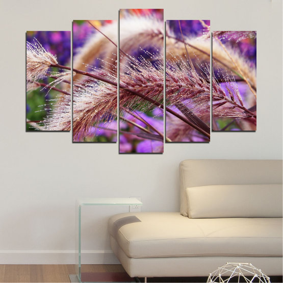 Canvas prints & wall decorative panels - 5 pieces №0300 » Purple, Brown, Gray, Dark grey » Nature, Autumn, Wheatear Form #1