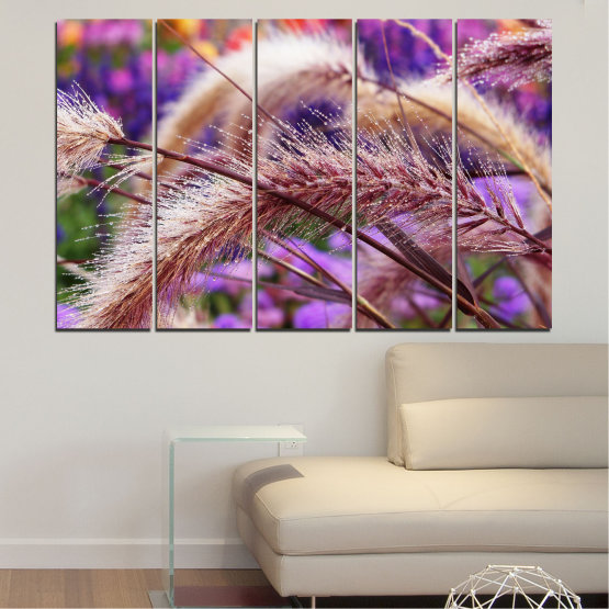 Canvas prints & wall decorative panels - 5 pieces №0300 » Purple, Brown, Gray, Dark grey » Nature, Autumn, Wheatear Form #2