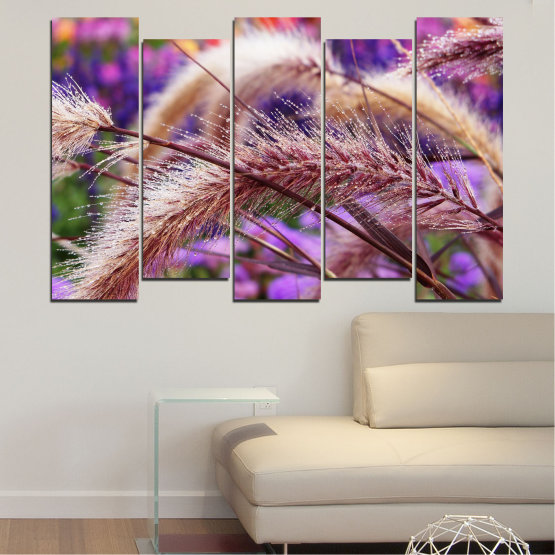 Canvas prints & wall decorative panels - 5 pieces №0300 » Purple, Brown, Gray, Dark grey » Nature, Autumn, Wheatear Form #3