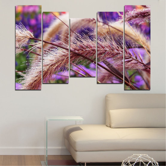 Canvas prints & wall decorative panels - 5 pieces №0300 » Purple, Brown, Gray, Dark grey » Nature, Autumn, Wheatear Form #4
