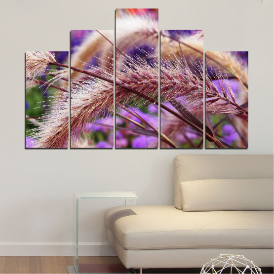 Canvas prints & wall decorative panels - 5 pieces №0300 » Purple, Brown, Gray, Dark grey » Nature, Autumn, Wheatear Form #5