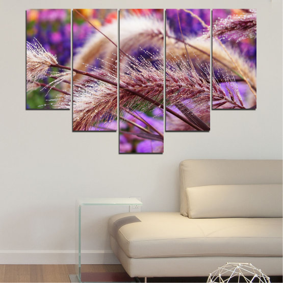 Canvas prints & wall decorative panels - 5 pieces №0300 » Purple, Brown, Gray, Dark grey » Nature, Autumn, Wheatear Form #6
