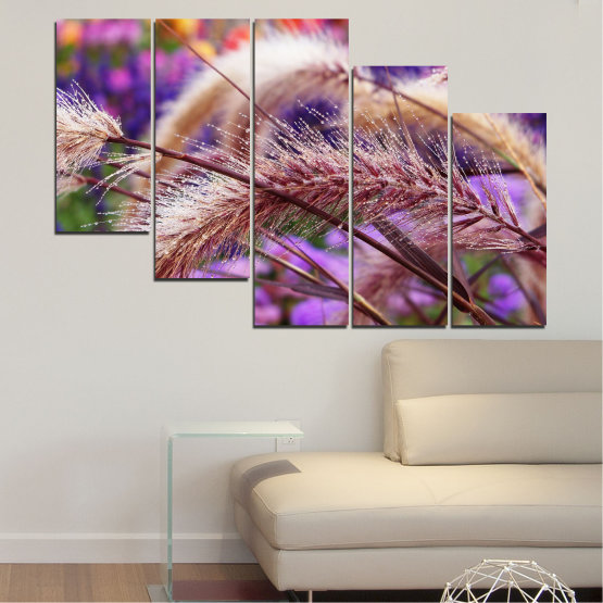 Canvas prints & wall decorative panels - 5 pieces №0300 » Purple, Brown, Gray, Dark grey » Nature, Autumn, Wheatear Form #7