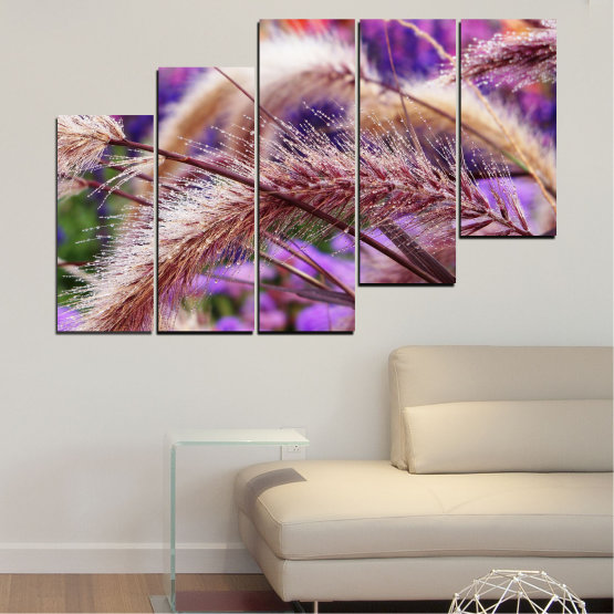 Canvas prints & wall decorative panels - 5 pieces №0300 » Purple, Brown, Gray, Dark grey » Nature, Autumn, Wheatear Form #8