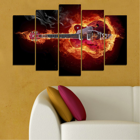 Canvas prints & wall decorative panels - 5 pieces №0301 » Red, Orange, Black » Abstraction, Fire, Music, Guitar Form #1