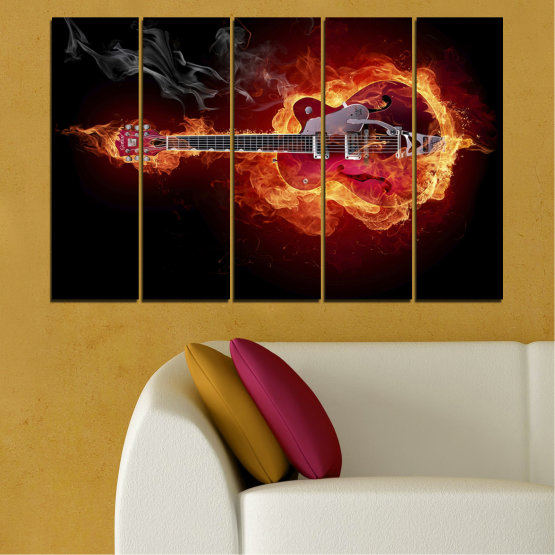 Canvas prints & wall decorative panels - 5 pieces №0301 » Red, Orange, Black » Abstraction, Fire, Music, Guitar Form #2