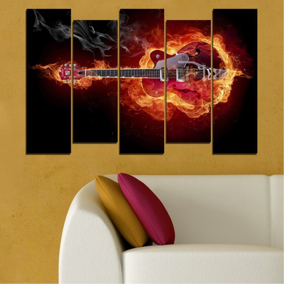 Canvas prints & wall decorative panels - 5 pieces №0301 » Red, Orange, Black » Abstraction, Fire, Music, Guitar Form #3