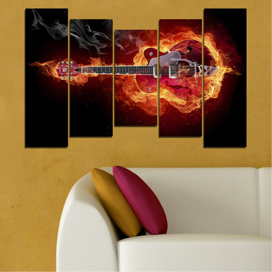 Canvas prints & wall decorative panels - 5 pieces №0301 » Red, Orange, Black » Abstraction, Fire, Music, Guitar Form #4