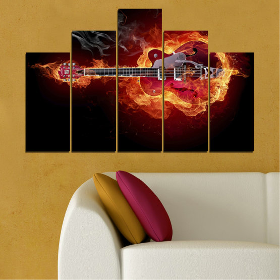 Canvas prints & wall decorative panels - 5 pieces №0301 » Red, Orange, Black » Abstraction, Fire, Music, Guitar Form #5