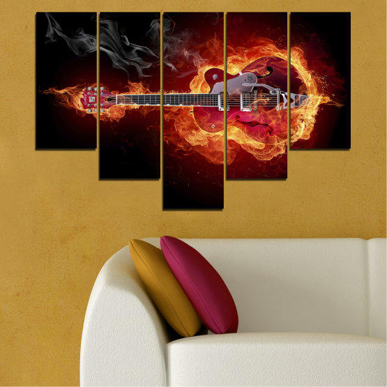 Canvas prints & wall decorative panels - 5 pieces №0301 » Red, Orange, Black » Abstraction, Fire, Music, Guitar Form #6