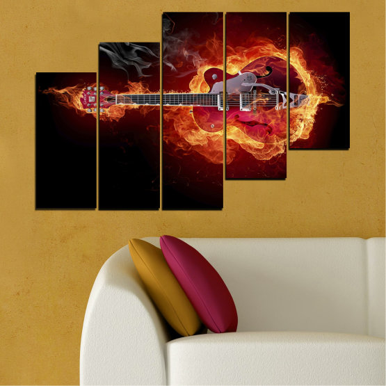Canvas prints & wall decorative panels - 5 pieces №0301 » Red, Orange, Black » Abstraction, Fire, Music, Guitar Form #8