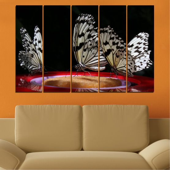 Canvas prints & wall decorative panels - 5 pieces №0302 » Red, Brown, Black, Gray, Dark grey » Animal, Butterfly, Night Form #2