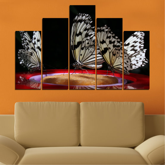 Canvas prints & wall decorative panels - 5 pieces №0302 » Red, Brown, Black, Gray, Dark grey » Animal, Butterfly, Night Form #5