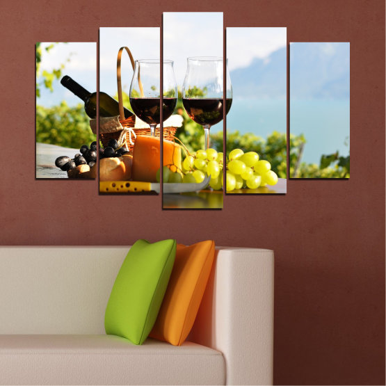 Canvas prints & wall decorative panels - 5 pieces №0303 » Black, Gray, White » Culinary, Fruits, Wine, Drink Form #1