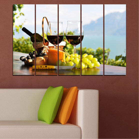 Canvas prints & wall decorative panels - 5 pieces №0303 » Black, Gray, White » Culinary, Fruits, Wine, Drink Form #2