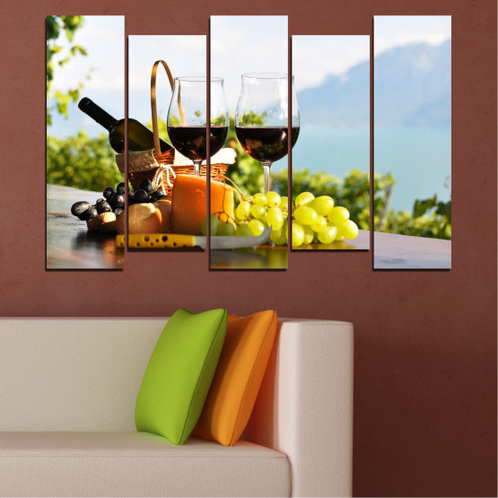 Canvas prints & wall decorative panels - 5 pieces №0303 » Black, Gray, White » Culinary, Fruits, Wine, Drink Form #3