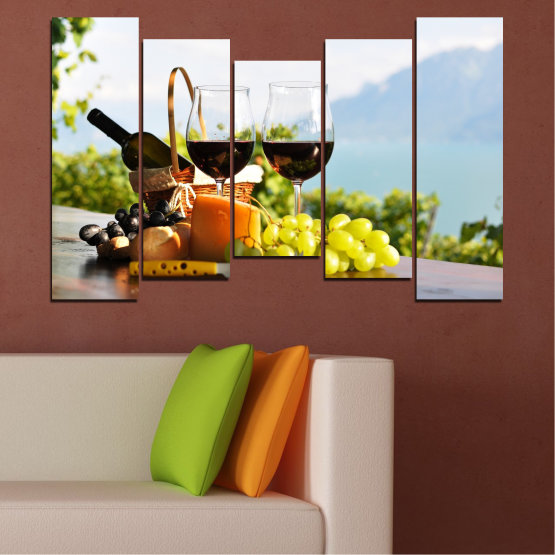 Canvas prints & wall decorative panels - 5 pieces №0303 » Black, Gray, White » Culinary, Fruits, Wine, Drink Form #4