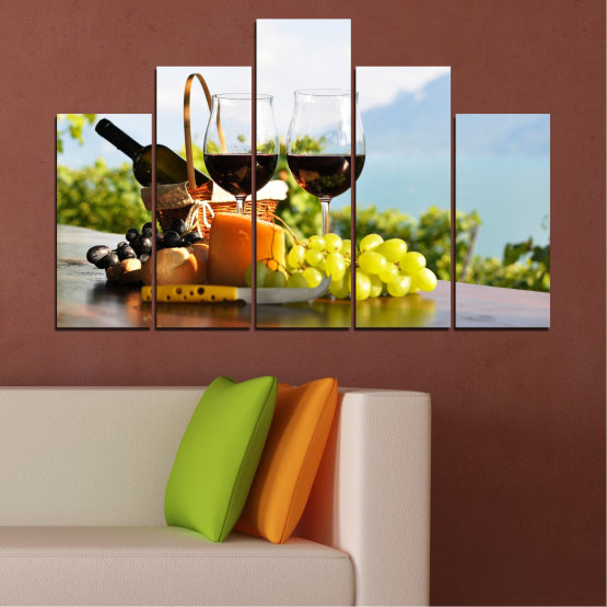 Canvas prints & wall decorative panels - 5 pieces №0303 » Black, Gray, White » Culinary, Fruits, Wine, Drink Form #5