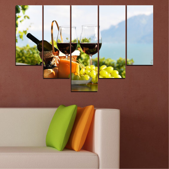Canvas prints & wall decorative panels - 5 pieces №0303 » Black, Gray, White » Culinary, Fruits, Wine, Drink Form #6