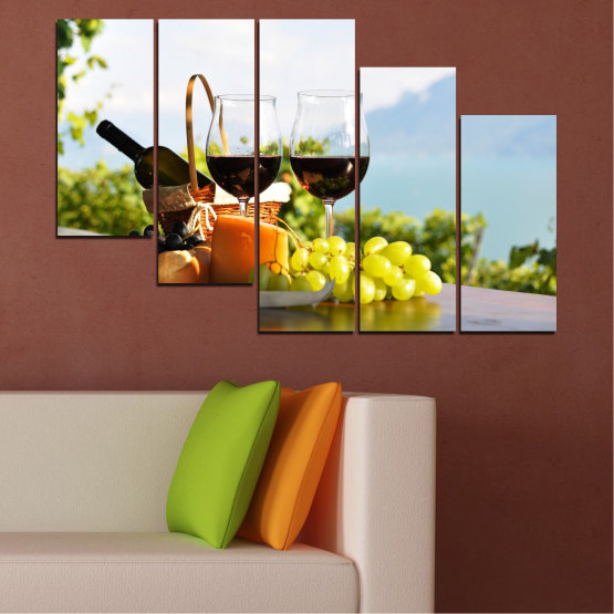 Canvas prints & wall decorative panels - 5 pieces №0303 » Black, Gray, White » Culinary, Fruits, Wine, Drink Form #7