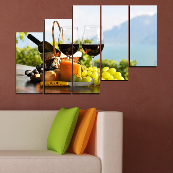Canvas prints & wall decorative panels - 5 pieces №0303 » Black, Gray, White » Culinary, Fruits, Wine, Drink Form #8