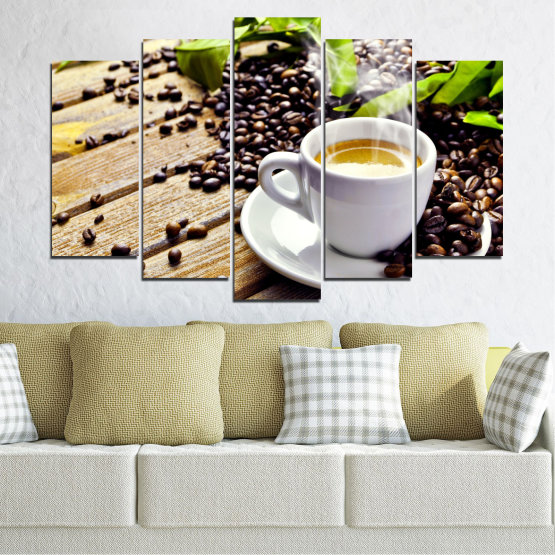 Canvas prints & wall decorative panels - 5 pieces №0304 » Brown, Black, Gray, Beige » Culinary, Coffee, Drink Form #1