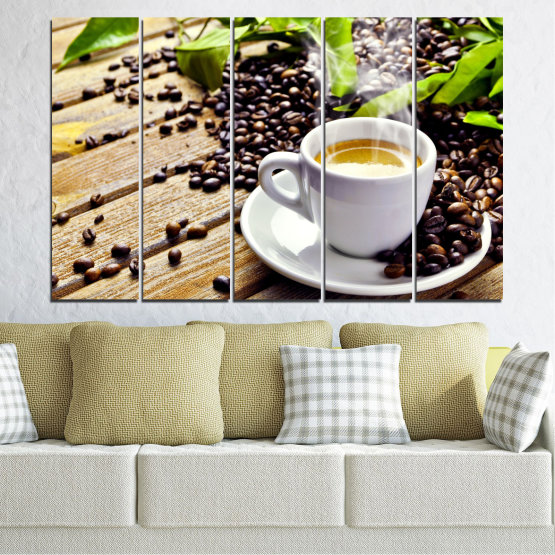 Canvas prints & wall decorative panels - 5 pieces №0304 » Brown, Black, Gray, Beige » Culinary, Coffee, Drink Form #2