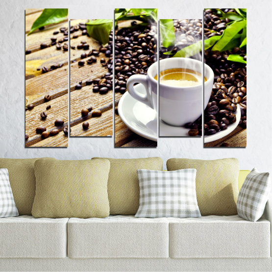 Canvas prints & wall decorative panels - 5 pieces №0304 » Brown, Black, Gray, Beige » Culinary, Coffee, Drink Form #3