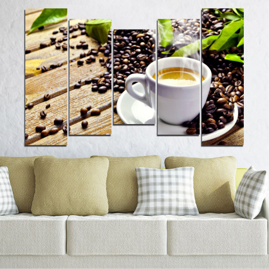 Canvas prints & wall decorative panels - 5 pieces №0304 » Brown, Black, Gray, Beige » Culinary, Coffee, Drink Form #4