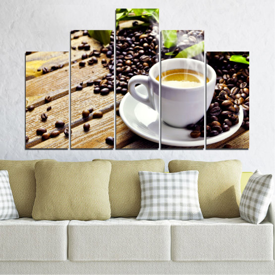 Canvas prints & wall decorative panels - 5 pieces №0304 » Brown, Black, Gray, Beige » Culinary, Coffee, Drink Form #5