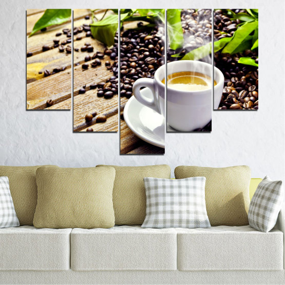 Canvas prints & wall decorative panels - 5 pieces №0304 » Brown, Black, Gray, Beige » Culinary, Coffee, Drink Form #6